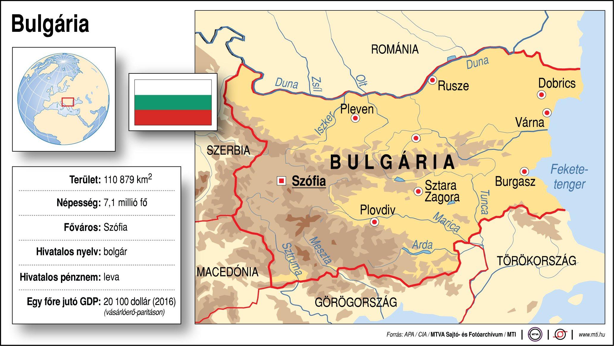 bulgária térkép Bulgária (térkép, adatok) – általánossuli.hu bulgária térkép
