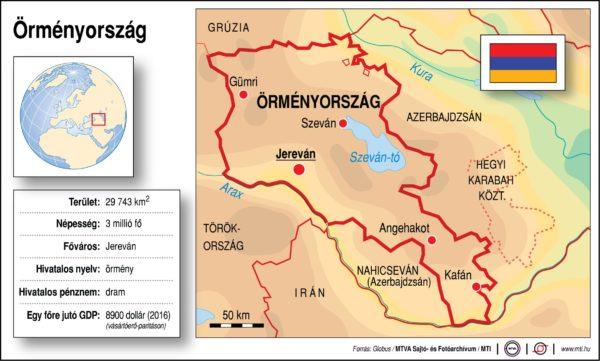 Örményország (térkép, adatok)