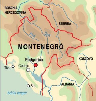 Montenegró (térkép, adatok)