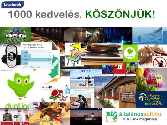 1.000 kedvelés az általánossuli.hu Facebook oldalán