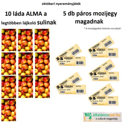 Októberi nyereményjáték: 5×2 mozijegy, 10 láda alma…
