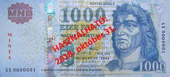 2018. október végéig fizethetünk a régi 1000 forintos bankjegyekkel