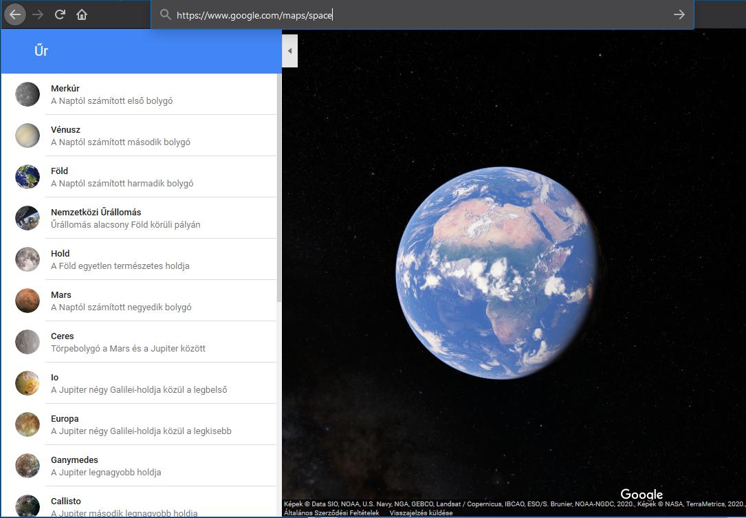 Google Térkép: Űr